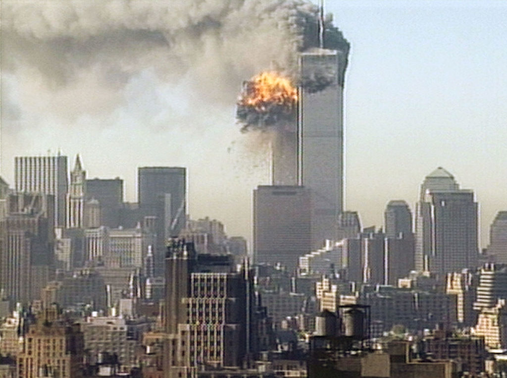 Hijacked United Airlines flight 175 is flown into the South Tower of the World Trade Center  September 11, 2001 in New York City.  (Photo by CNN via Getty Images)