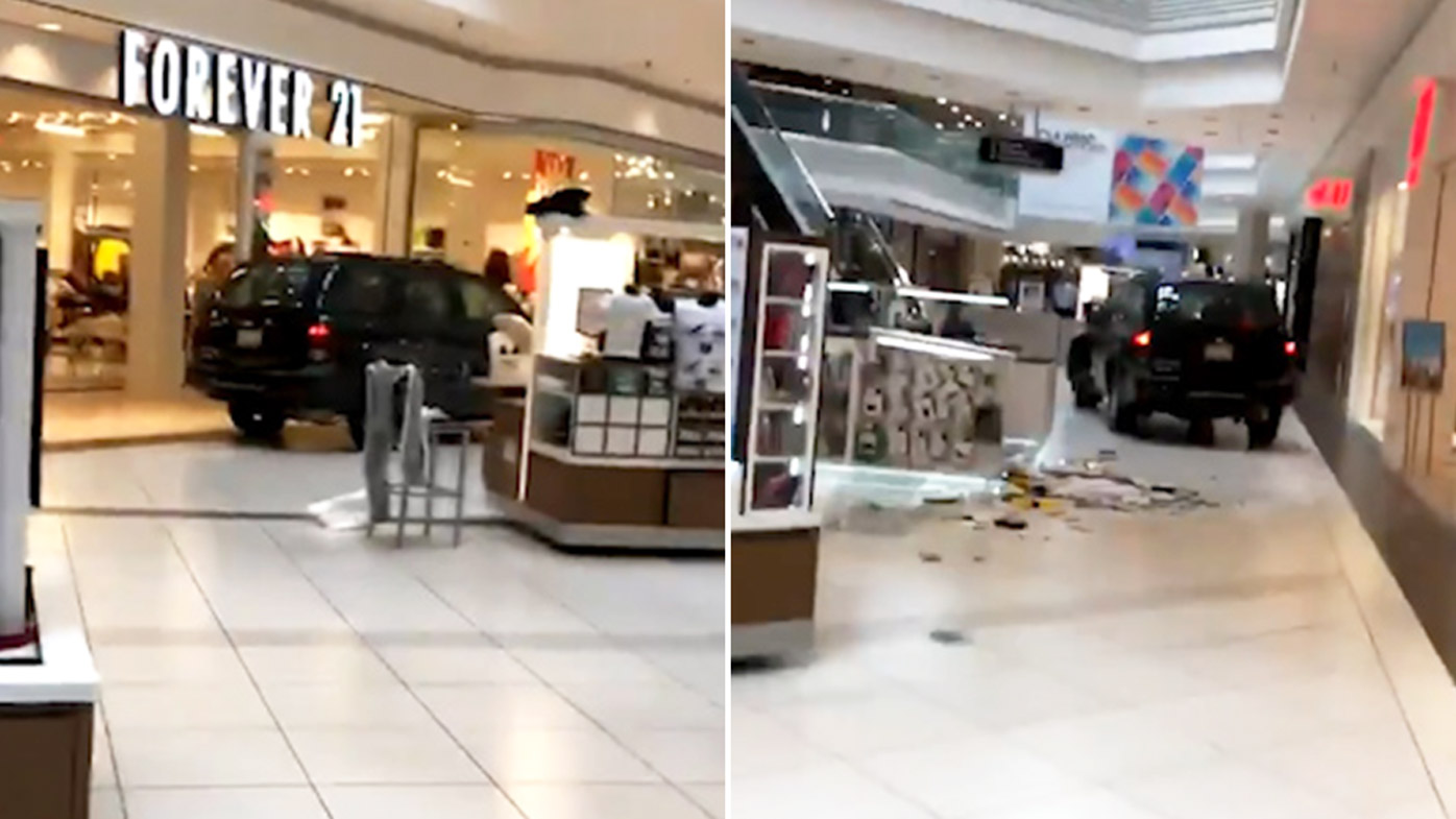 Driver arrested after rampaging through US shopping centre