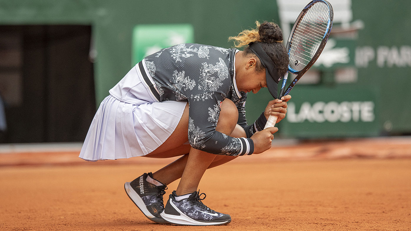 Naomi Osaka of Japan in action during her first round