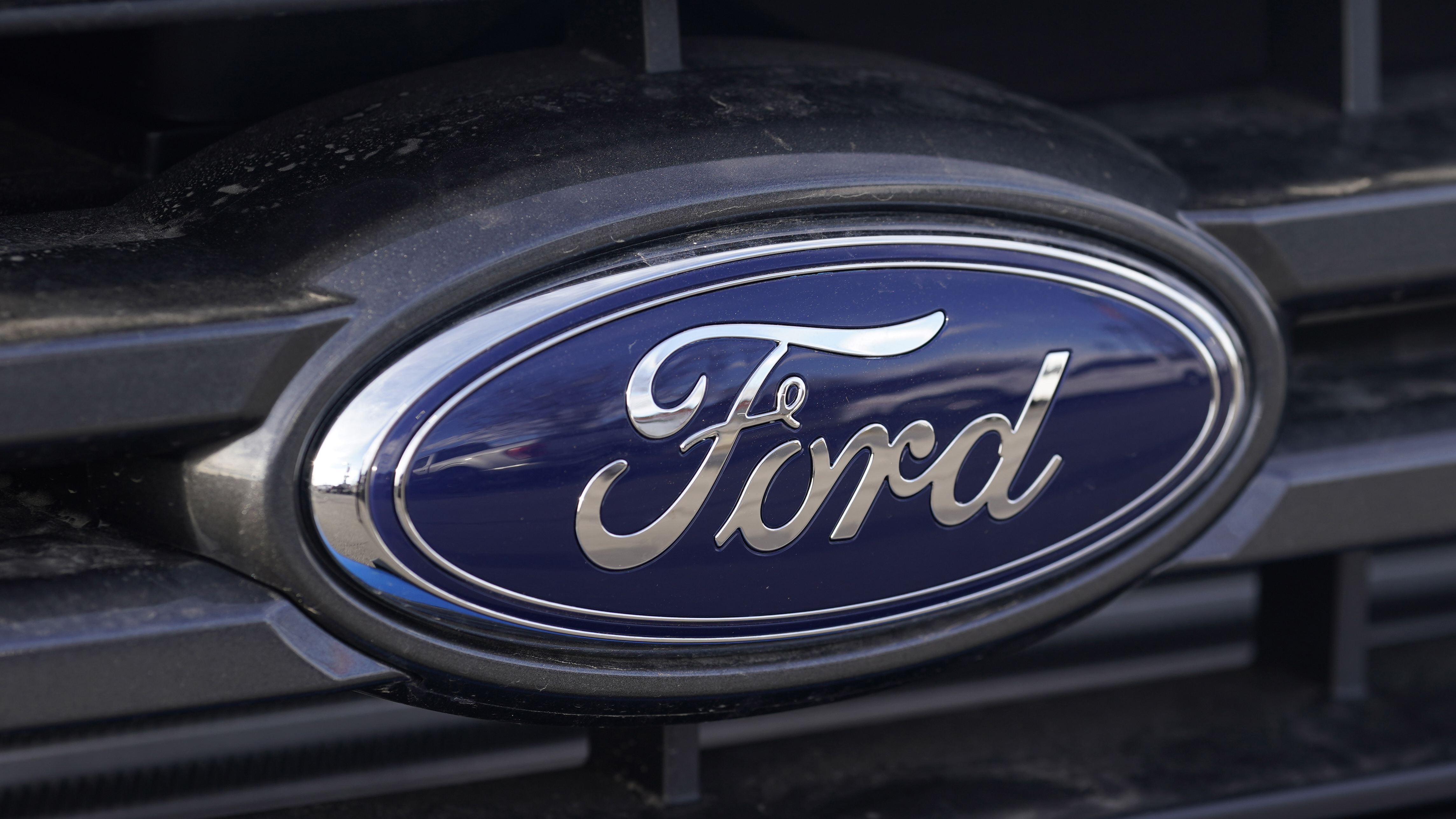 The blue oval logo of Ford Motor Company in east Denver.